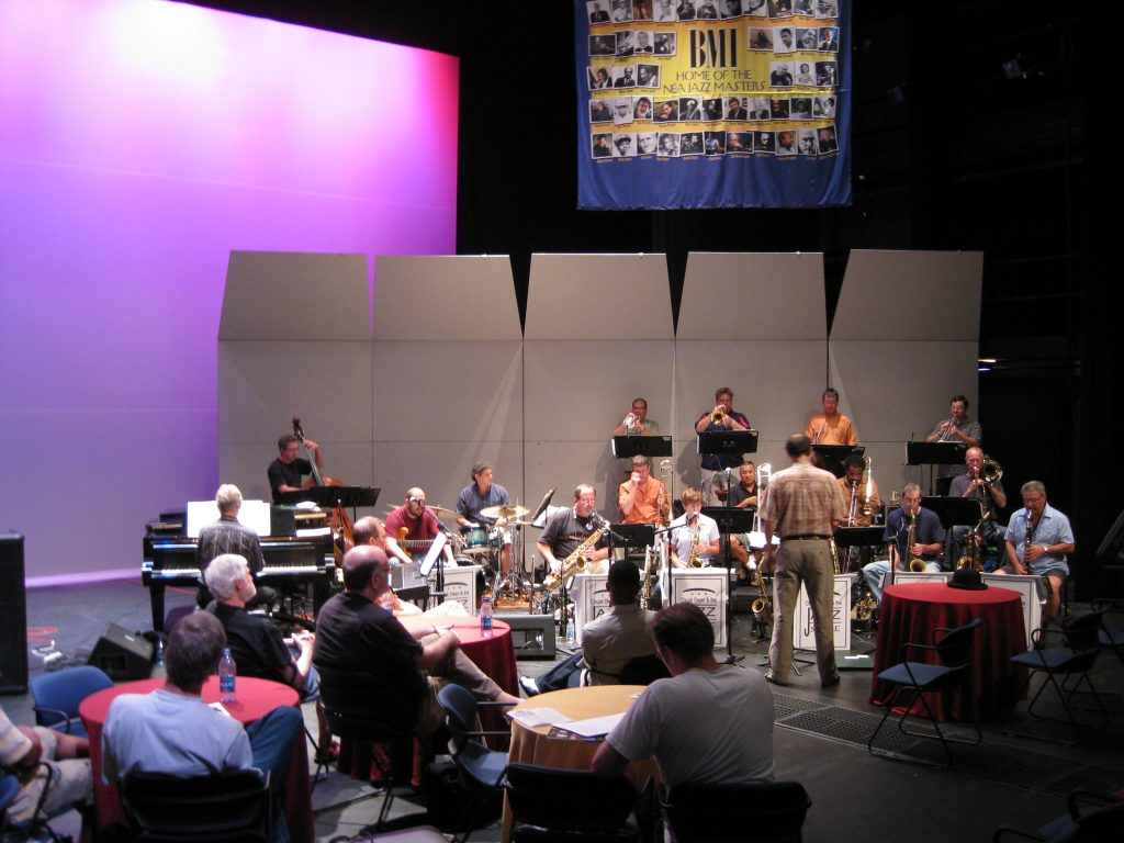 Rehearsing a new piece with the Jazz Surge in Tampa, FL